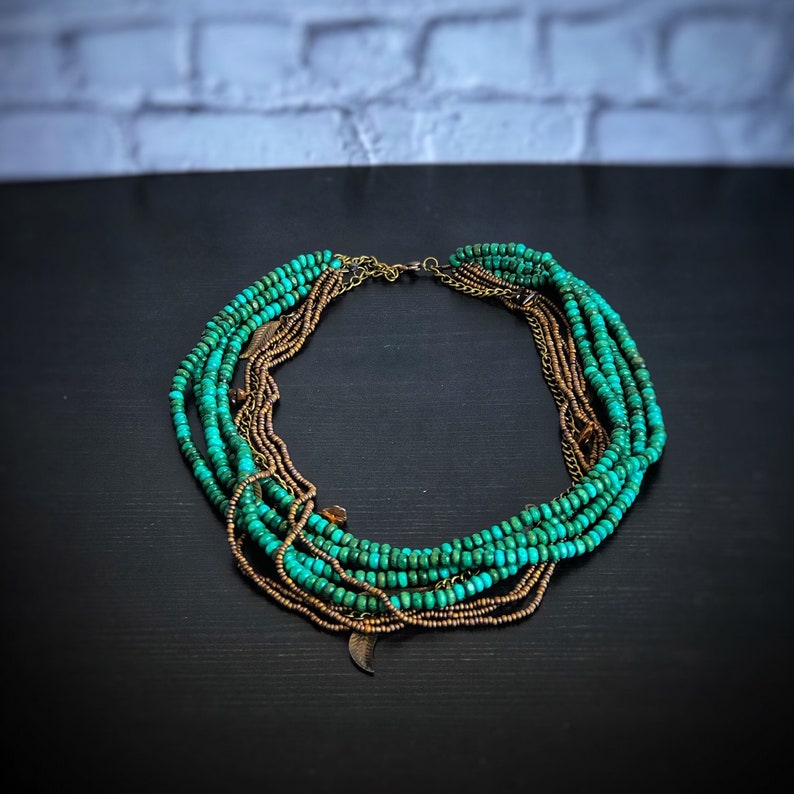 Bohemian Layered Necklace Gift for Women Boho Layered Choker Turquoise Statement Necklace Bridesmaid Gift Collier femme Graduation Gift