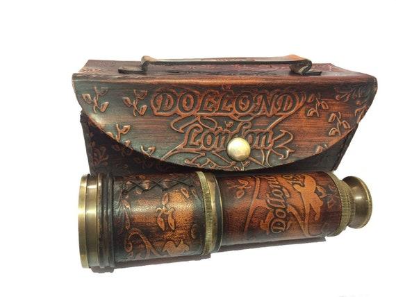 Leather Telescope Marine Nautical Antique Brass Pirate Spyglass Vintage Scope