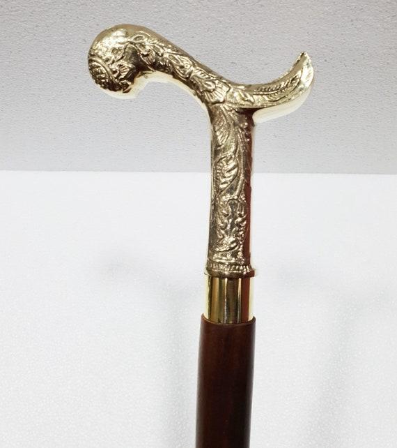 Silver Vintage Walking Cane Stick Handle Brass Design Handmade ONLY HANDLE