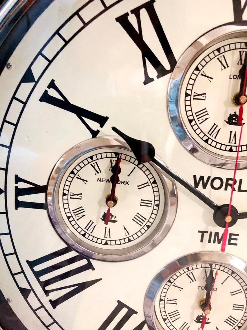 Style vintage en laiton noir décoration murale en bois horloge monde horloge murale Decor bureau nautique