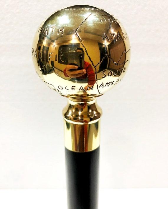 Vintage Brass Globe Handle Wooden Folding Compaq Black Walking Stick Wood