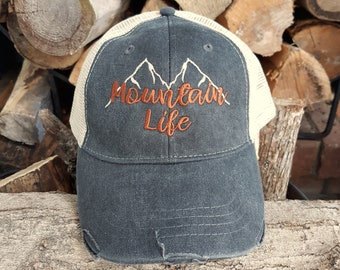97827d1abee9b1 Mountain Life Hat, Trucker Hat, Mountain Life Baseball Hat, Distressed Trucker  Hat