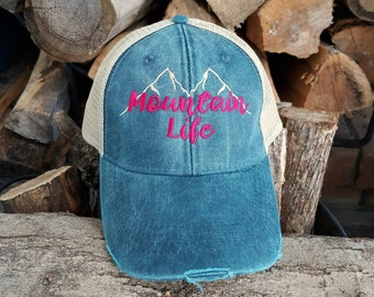 39aafdd3d030d6 Mountain Life Trucker Hat, Mountain Life Baseball Hat, Distressed Trucker  Hat
