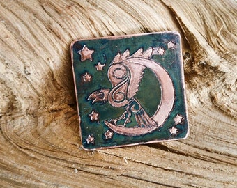 Silver Plate Engraved Viking Raven Brooch Badge Pin Right Facing