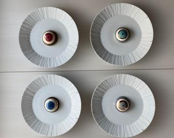Set of 5 Wall Plates, Porcelain Decorative Plates, Wall Plates Decor with Evil Eye, Good Luck Charm, Greek Gouri, Housewarming Gift
