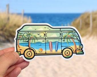 Campervan Landscape Sticker for Laptop, Van, Water Bottle