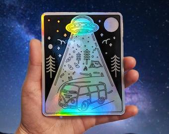 Holographic Skoolie Alien Abduction Sticker for Laptop, Van, Water Bottle