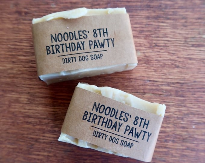 20 Customized Small Dog Soap Party Favors - 3.5 oz