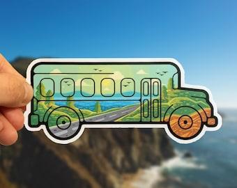 Skoolie School Bus Ocean Sticker for Car, Laptop, Bottle