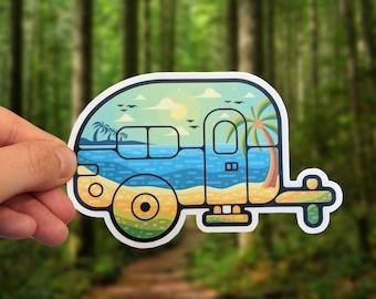 Teardrop Tiny Trailer Landscape Sticker for Laptop, Van, Water Bottle