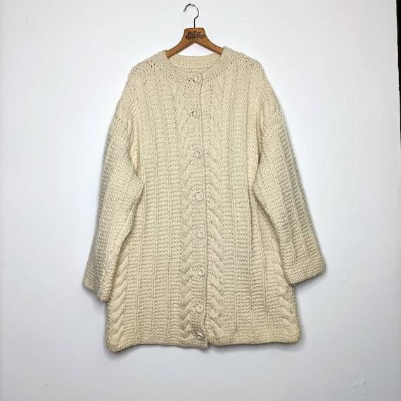 Vintage Oversized XXL Chunky Knit Cardigan Wool Ja