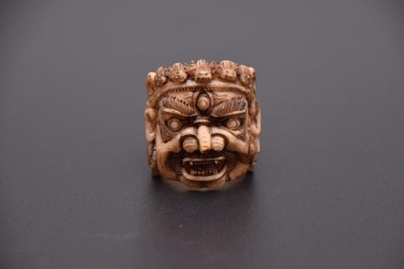 Handmade Bone Carved Ringhandmade Antique Mahakal Ring Demon Etsy