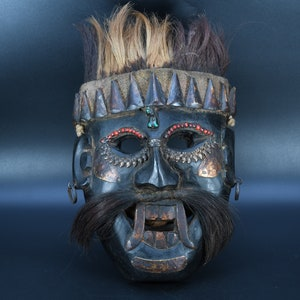 Wooden Tibetan Ganesh Mask Handmade Mountain Jhakri,Shamanic,Shaman,Tharu Mask Wall Hanging Antique Himalayan Vintage Traditional Nepal