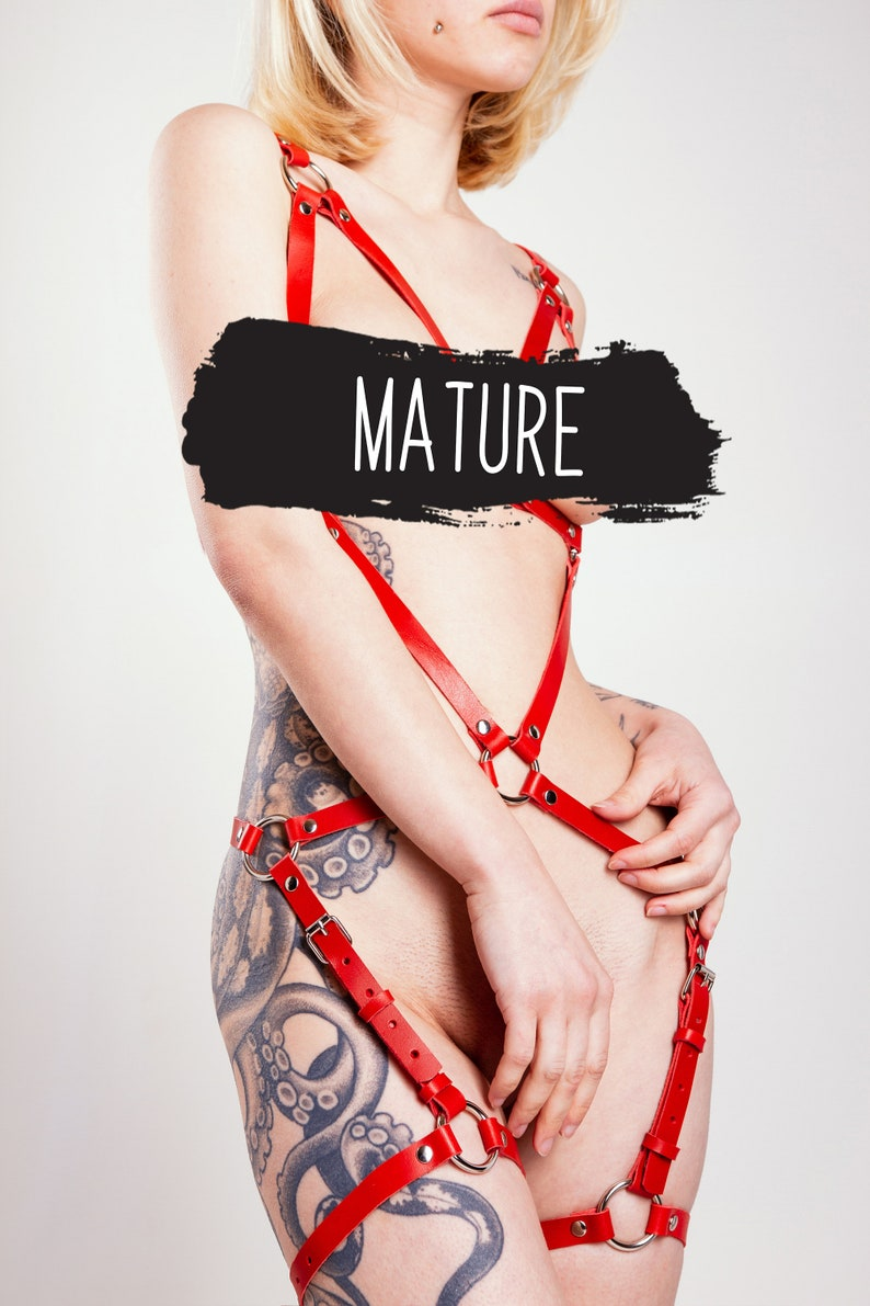 Mature Leather BDSM Body Harness Women Submissive Gage Harness BDSM Furniture and Clothing Dominatrix Full Body Harness Harness Lingerie
