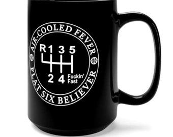 Air-Cooled Fever, Flat Six Believer Black Mug 15oz