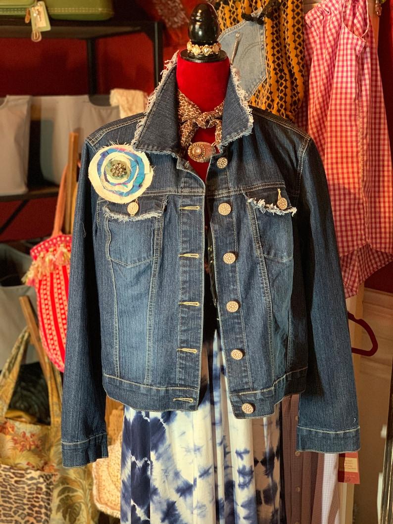 Upcycled Recycled Gypsy Hippie Denim Jacket Ooak Boho TShirt Graphic Vintage Crochet