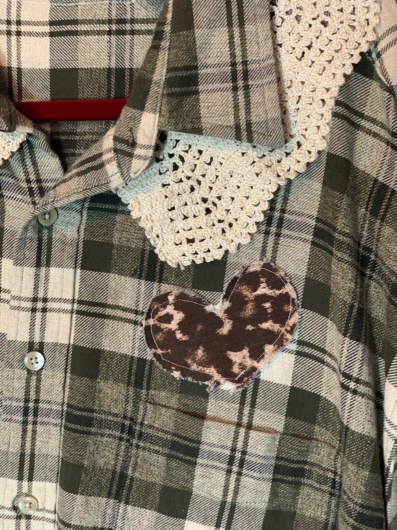 Women/'s Upcycled Recycled Repurposed Vintage Crochet Plaid Flannel Plus Shirt Gypsy Hippie Boho Grunge Retro Festival