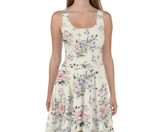 730b50dbf501 Colorful Wildflowers Floral Carpet Skater Dress