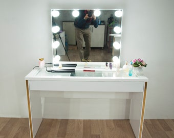 Hollywood Glow Xl Pro Illuminated Vanity Mirror And Make Up Desk Makeup Table Full Kitmakeup Table And Mirror Together 65cmx75cm Mirror