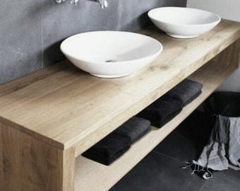 Double Shelf Floating Vanity | Solid Hardwood | With Zero Visible Anchors