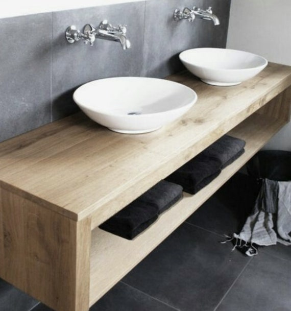 another chance afb62 3e1a8 Double Shelf Floating Vanity | Solid Hardwood | With Zero Visible Anchors