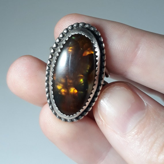 Antique Fire Agate Sterling Ring Signed Brown Green Flash Size 4.25  size 5 Native American Silver Handmade Vintage Ring 1940/'s