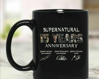 71f002c9965 Supernatural 15 Years Anniversary Signatures Mug Black Ceramic 11oz Coffee  Cup