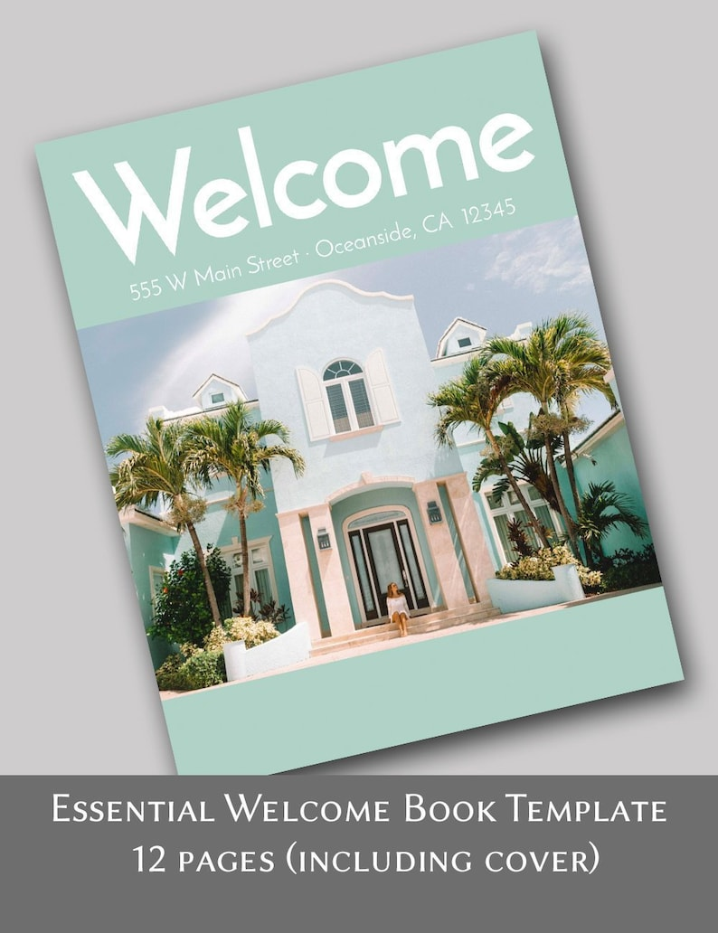 The Essential House Manual -- 12 Pages - Airbnb Vacation Rental Welcome  Book Template, Edit online with Corjl