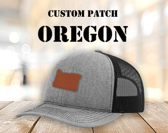 ae12ff43 Oregon custom Leather Patch Hats, Logo Hats, Laser Engraved Leather Patch,Company  Logo Hat, Personalized Mens Hats, Leather Patch