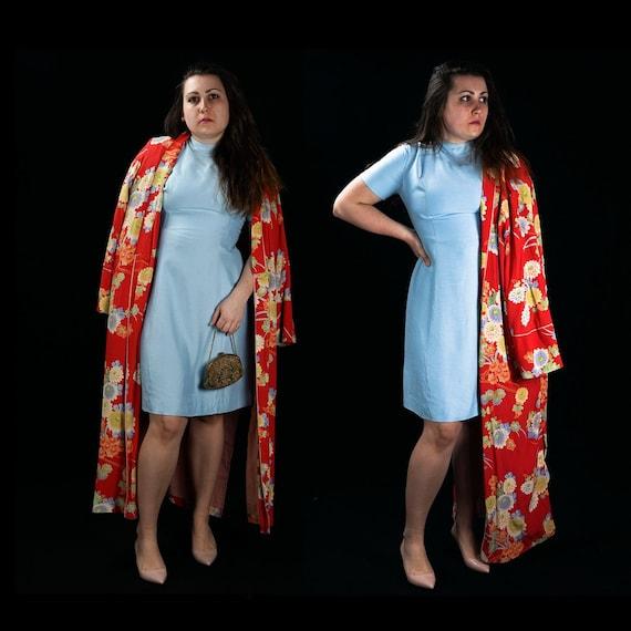 Elegant Blue, Vintage, shantung silk, 60's wiggle