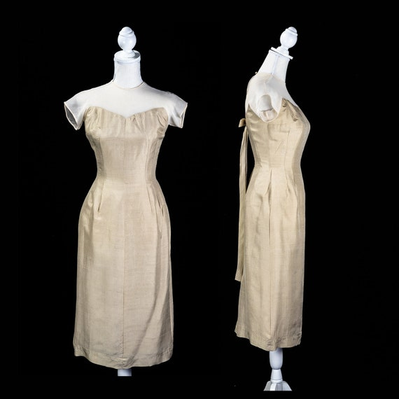 Vintage 50s Illusion Neck Bombshell Wiggle Dress
