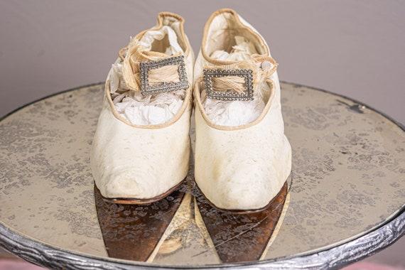 Antique 1900 Edwardian Wedding Shoes, White Kid L… - image 6
