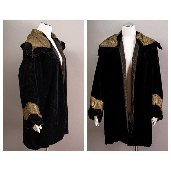 Stunning Black Silk Velvet Opera Coat With Gold La