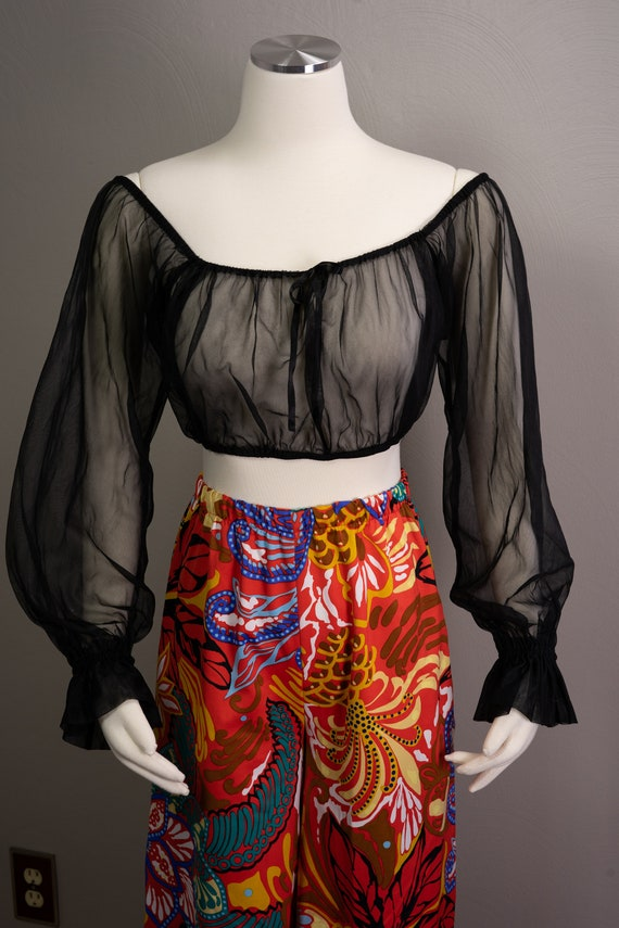 70s Sheer Peasant Crop Top Pants Sets, wide leg p… - image 6