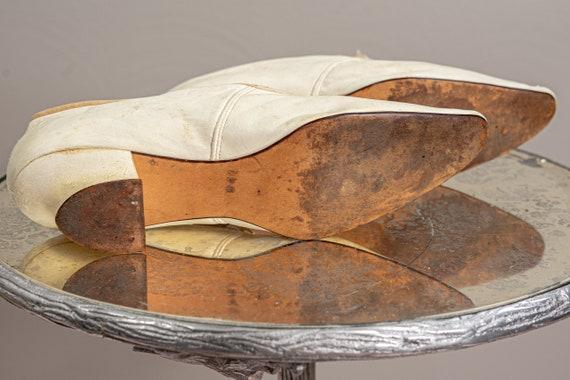 Antique 1900 Edwardian Wedding Shoes, White Kid L… - image 8