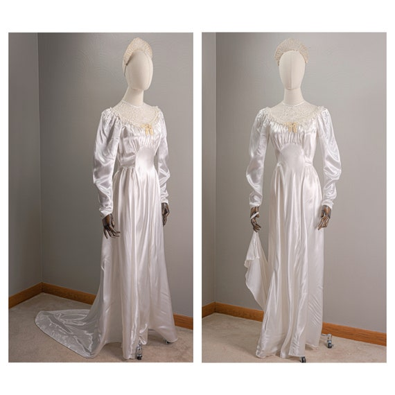 Vintage Simple 30s Rayon Satin and Lace Wedding Go