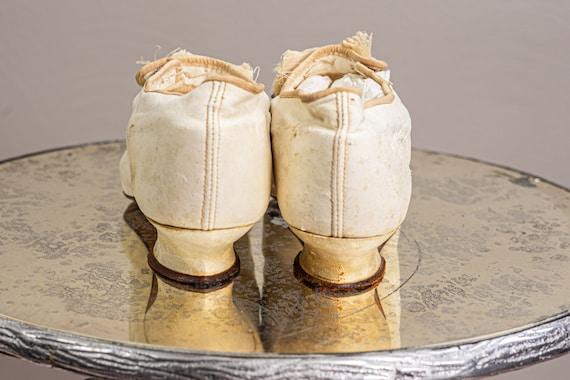 Antique 1900 Edwardian Wedding Shoes, White Kid L… - image 7
