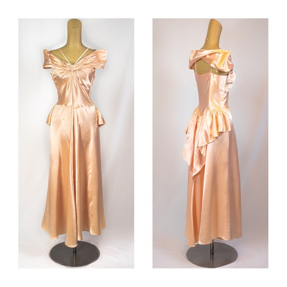 vintage 40s Peach Liquid Satin evening dress, Bust