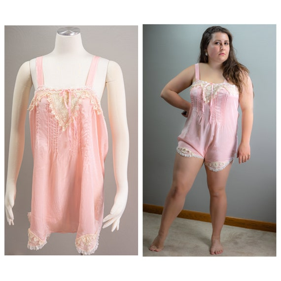 20s Pink Silk Lace Step ins, Ribbons, Large Size,