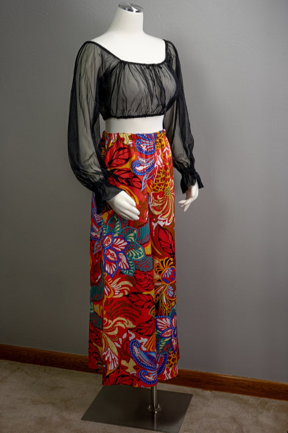 70s Sheer Peasant Crop Top Pants Sets, wide leg p… - image 4
