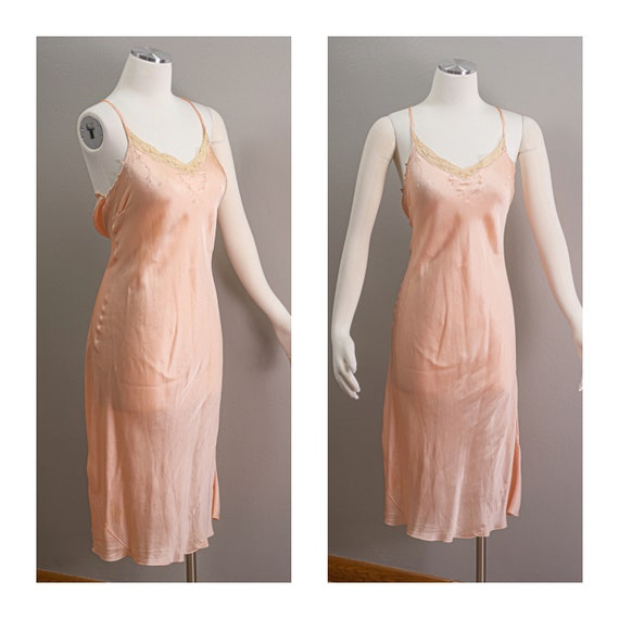Vintage 30s peach Silk Slip Dress, Hand Sewn, Bias