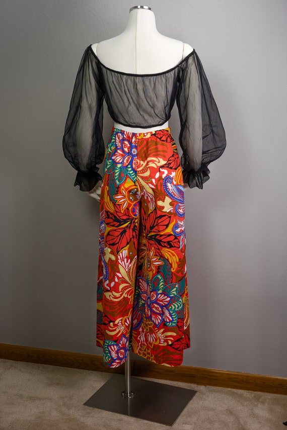 70s Sheer Peasant Crop Top Pants Sets, wide leg p… - image 5