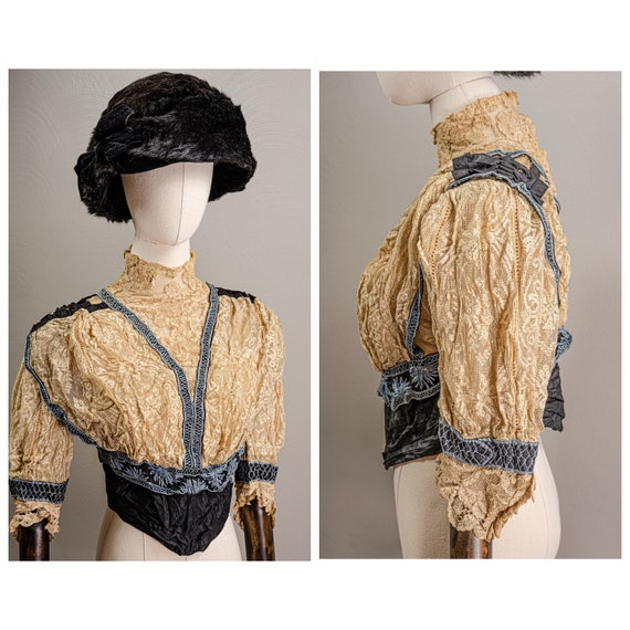 Antique Edwardian Stunning Lace and Embroidered B… - image 1