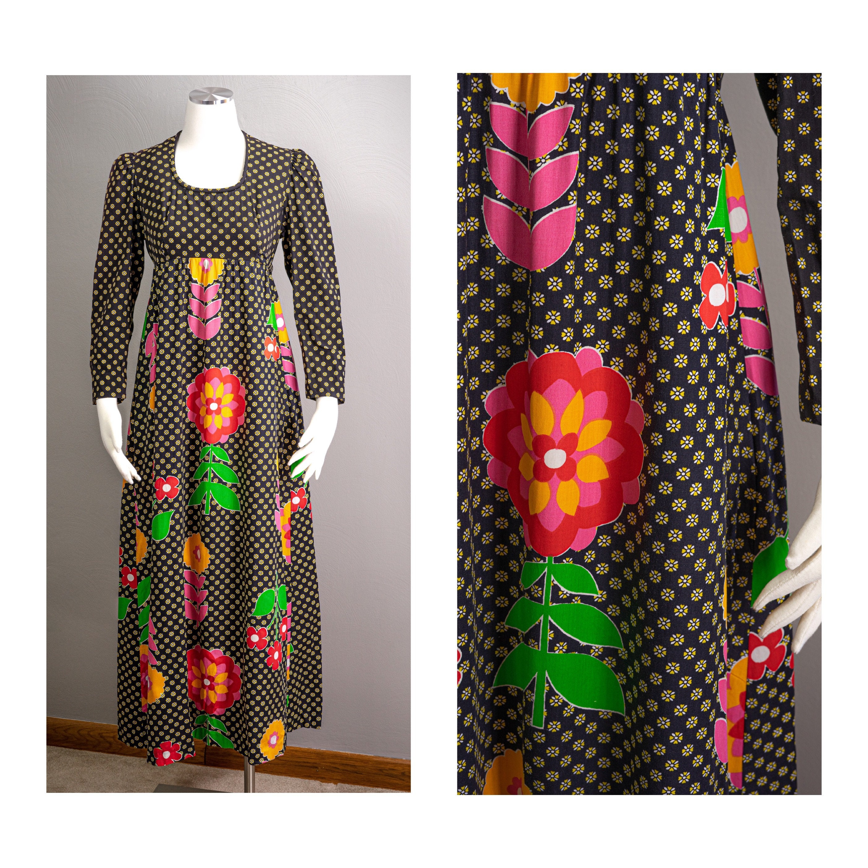 Vintage Scarf Styles -1920s to 1960s Fun  Vibrant Vintage 70S Psychedelic Floral Print Cotton Dress, Loungewear, Empire Waist, Pockets, Prairie Style $0.00 AT vintagedancer.com