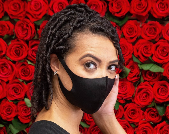 Featured listing image: #1 Etsy Best Seller, XS/S/M/L/XL Comfort ePeak Face Mask. BLACK.  Breathable, Hand Washable, Reusable, Soft Ear Loops, Lightweight.