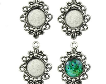 4x or 8x pendant in drop shape socket for 10 mm x 14 mm cabochon