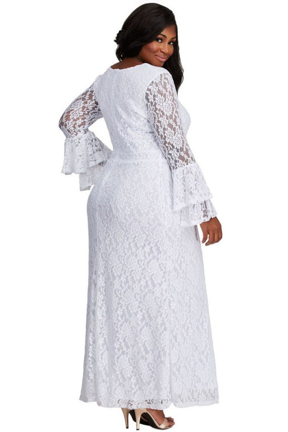 White Lace Bell Sleeve Maxi Dress