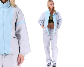 TRACK Suit Costume 80s Unisex Retro Baggy Track Jacket Pants Workout Button  Up Old School Gray Yo Yo Hip Hop Men Women Sports Large a11e79b812e