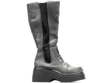 7683ed3d482 US 5.5 Tall Steampunk Boots 90s Platform Rave Gray Vegan Goth Wedge Club  Kid Go Go Knee Tall Boots Vinyl Zip Up Punk Rock Deamon UK 3 EU 36