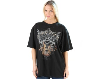 84cc106e6eb7 Hard Rock Cafe Tee Shirt Oversized T-shirt Rocknroll Tee Shirt Black Unisex  T-Shirt Rocker Guitar Printed Tshirt Casual Top . Extra Large XL